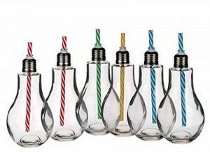Lot de 6formes d'ampoules de lumière en verre de 400ml à gobelet à boire, cocktail, bocal avec pailles. de la marque OTB image 0 produit