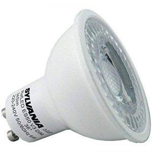 Lot de 6Sylvania 5W Dimmable GU100028444Refled V4345lm 5W LED à intensité variable GU10Ampoules de remplacement pour ampoules halogène 50W 8656500K Blanc lumière du jour de la marque Sylvania image 0 produit
