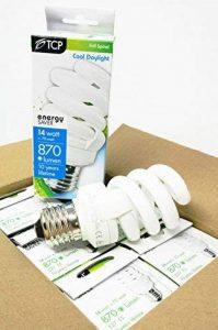 Lot de 6TCP 14W E27T3complète spirale équivalent 70W Ampoule 6500K Blanc lumière du jour, 870lumens Culot à vis E27ES Ultra Lumineux et compact lampe à économie d'énergie de la marque TCP image 0 produit