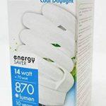 Lot de 6TCP 14W E27T3complète spirale équivalent 70W Ampoule 6500K Blanc lumière du jour, 870lumens Culot à vis E27ES Ultra Lumineux et compact lampe à économie d'énergie de la marque TCP image 3 produit