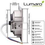 Lumaro® Slim Line spot encastrable IP44 carré en argent avec seulement une profondeur d'installation de 27 mm! | avec 3 pièce spot de plafond avec intégration remplaçable 4W 400 lumens ampoules LED AC 230V 120° Plafonnier blanc chaud (Set de 3) de la marq image 2 produit