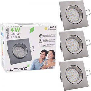 Lumaro® Slim Line spot encastrable IP44 carré en argent avec seulement une profondeur d'installation de 27 mm! | avec 3 pièce spot de plafond avec intégration remplaçable 4W 400 lumens ampoules LED AC 230V 120° Plafonnier blanc chaud (Set de 3) de la marq image 0 produit