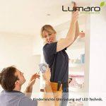 Lumaro® Slim Line spot encastrable IP44 carré en argent avec seulement une profondeur d'installation de 27 mm! | avec 3 pièce spot de plafond avec intégration remplaçable 4W 400 lumens ampoules LED AC 230V 120° Plafonnier blanc chaud (Set de 3) de la marq image 4 produit