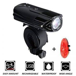 Lumière Vélo Avant et Arrière - DEEPOW Eclairage Vélo Puissante Etanche Rechargeable, 2000MAh+3 Modes de Luminosité(Avant),200MAh+2 Modes de Luminosité(Arrière),Lampe Bicyclette Antichoc Impermeable Rechargeable avec Câble USB,50 mètres d'éclairage pour l image 0 produit