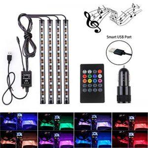 Lumières de bande de voiture LED - lumière d'intérieur de voiture de 4pcs 48 LED de Moobibear, lumières d'ambiance de musique multicolore, kit d'éclairage de voiture de port d'USB LED avec le contrôle activé par son et télécommande sans fil et allume-ciga image 0 produit