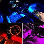 Lumières de bande de voiture LED - lumière d'intérieur de voiture de 4pcs 48 LED de Moobibear, lumières d'ambiance de musique multicolore, kit d'éclairage de voiture de port d'USB LED avec le contrôle activé par son et télécommande sans fil et allume-ciga image 2 produit