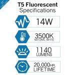 Luxrite F14t5/83514W 55,9cm T5Tube fluorescent ampoule, 3500K Blanc naturel, 60W équivalent, 1140lumens, G5Mini Bi-pin Base, Lr20857, 3500K (Natural White) 14.00 wattsW 120.00 voltsV de la marque Luxrite image 1 produit