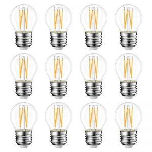 LVWIT 4W Ampoule Filament LED E27 G45, Blanc Chaud 2700K, Remplacement d'ampoule incandescence 40W, 470lm ultra-lumineux, Style filament rétro transparent (lot de 12) de la marque LVWIT image 0 produit