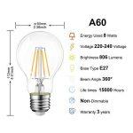 LVWIT 8W Ampoule LED Filament E27 A60, Equivalent à Ampoule halogène 60W, 806Lm 2700K Blanc Chaud, Ampoule Vintage LED, Non Dimmable, Lot de 12 de la marque LVWIT image 2 produit