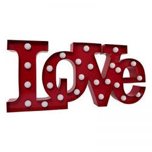 Marquee Lettre Light Amour–Romantique à LED Ampoule Lettres de l'alphabet–Lettres–Vintage décoratifs Lampe de Nuit–en métal 22,9cm Rouge de la marque map image 0 produit