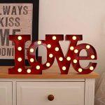 Marquee Lettre Light Amour–Romantique à LED Ampoule Lettres de l'alphabet–Lettres–Vintage décoratifs Lampe de Nuit–en métal 22,9cm Rouge de la marque map image 1 produit