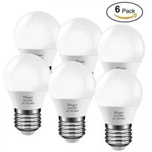 Minger 3W G45 E27 Ampoules LED, 25 Watt Équivalence Incandescence, 260Lumens, Blanc Chaud, 2700K, 220 ° Angle de Faisceau, 6 Unités de la marque Minger image 0 produit