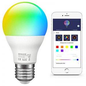 Minger Ampoules LED RGBW Changement de Couleur E27 Synchro à la Musique Dimmable LED Éclairage Multicolore Magique Lampes d'ambiance par APP Compatible avec Tous les IOS&Android Smartphones Apple, Samsung etc. de la marque Minger image 0 produit