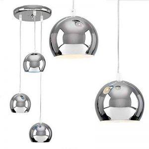 MiniSun Suspension Lustre Rétro Style 70's. Globes Oculaire - 3 Boules (de 12 cm) en cascade Chrome Poli de la marque MiniSun image 0 produit