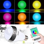 Miric Ampoule intelligente Sparin, Ampoule LED RGB avec 7 couleurs E26/E27 avec Haut-Parleur Bluetooth, Musique Audio Minuterie Intégré Compactible avec Appareils iOS et Android pour Maison et Scène de la marque Miric image 2 produit