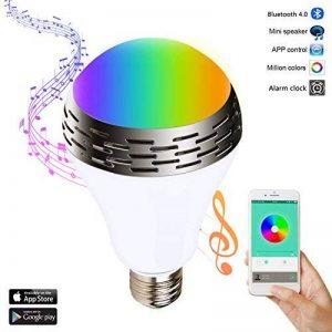 Miric Ampoule intelligente Sparin, Ampoule LED RGB avec 7 couleurs E26/E27 avec Haut-Parleur Bluetooth, Musique Audio Minuterie Intégré Compactible avec Appareils iOS et Android pour Maison et Scène de la marque Miric image 0 produit