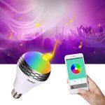 Miric Ampoule intelligente Sparin, Ampoule LED RGB avec 7 couleurs E26/E27 avec Haut-Parleur Bluetooth, Musique Audio Minuterie Intégré Compactible avec Appareils iOS et Android pour Maison et Scène de la marque Miric image 1 produit