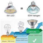MR16 Ampoule LED Lampe Bulb, KDP GU5.3 5W Lumière LED, Equivalent 50W Ampoule Halogène Blanc Chaud 2800K 450LM AC/DC 12V Non-dimmable Spot LED (Lot de 6) de la marque KDP image 4 produit