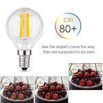 Muizlux G45 Ampoule LED Filament , E14 LED Candle 4W 400 lumens, Replaces 40W incandesent bulb, warm white 2700K, pack of 6 [Energy Class A ++] de la marque MUIZLUX image 2 produit