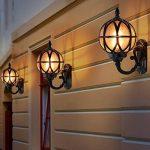Mur Extérieur Lanterne Vintage Noir Applique Mur Étanche IP54 Fonte D'aluminium Et Verre Applique Murale Rétro E27 Jardin Rustique Entrée Maison Cour Mur D'éclairage 27.5 * 18 * 31Cm de la marque HONY-LIGHT image 4 produit