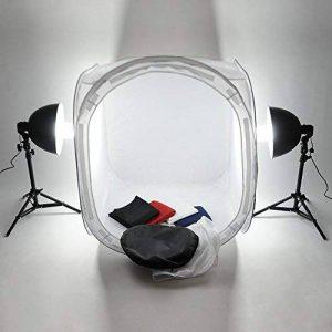MVpower Kit Tente de Studio Cube 80cm*80cm*80cm Photographie Tente de Photo Portable Lumière Softbox Eclairage Continu avec 2 Lampe Ampoule 135W 5500K + 2 Trépied + 4 Toile de Fond (Rouge, Blanc, Bleu Noir) de la marque MVPower image 0 produit
