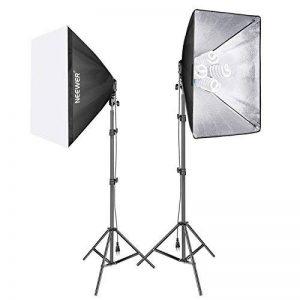 Neewer 1600W Kit d'Eclairage Softbox Vidéo Studio Comprend: (2) 50 x 70 centimètres Softbox, (2) Support de Lumière à Quatre Douilles, (8) 45W Ampoule, (2) 200cm Pied Lumineux, (2) Etui de Transport de la marque Neewer image 0 produit