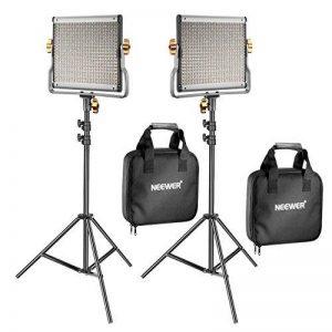 Neewer 2 Packs 480 LED Lumière Dimmable Bicouleur et Support d'Eclairage Kit Comprend: 3200-5600K CRI 96+ LED Panneau avec Support en U, 190cm Support de Lumière pour YouTube Studio Photographie Video de la marque Neewer image 0 produit