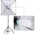 Neewer 200W Kit de Support d'Eclairage Photographique et Softbox - 60x60 centimètres Softbox et Support d'Eclairage avec 45W Ampoule Fluorescente pour Photo Studio Portraits, Produit et Vidéo Tournage de la marque Neewer image 2 produit
