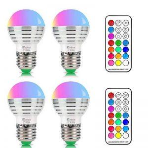 NetBoat E27 Ampoules LED RGBW (Rouge Vert Bleu et Blanc) Changement de Couleur Dimmable 3W LED Bulbs Screw Magique Lampes,Pack OF 4 de la marque NetBoat image 0 produit