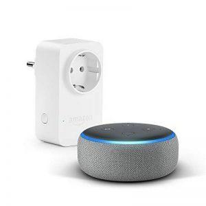Nouvel Echo Dot (3ème génération), Tissu gris chiné + Amazon Smart Plug (Prise connectée WiFi), Fonctionne avec Alexa de la marque image 0 produit