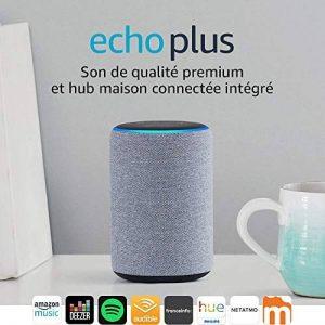 Nouvel Echo Plus (2ème génération), Tissu gris chiné + Ampoule connectée Philips Hue de la marque image 0 produit