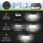 [Nouvelle Génération] Mpow Lampe Solaire Extérieur 2 Pack 40 LED Spot Solaire Etanche IP65, Détecteur de Mouvement, 3 Modes Intelligents, Panneau Solaire Amélioré avec Grand Angle, Luminaire Exterieur pour Allée, Escalier, Jardin, Mur, Maison, Patio etc. image 3 produit