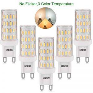 [Nouvelle Version] LEDGLE 5x Ampoules LED G9 6W Sans Scintillement 60-LED Equivalent à Ampoule Halogène 60W, 390-420lm 3 Températures de Couleur-Blanc Chaud /Blanc Naturel/ Lumière Naturelle de la marque LEDGLE image 0 produit