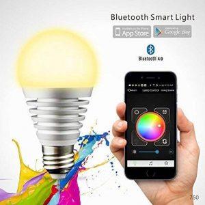 NOVAGO® Ampoule d'ambiance LED Bluetooth 4.0 - Ampoule connectée - Gérer vos éclairages de Lecture , Réveil , Fêtes , Musique ... à partir de votre Smarpthone sous IOS ou Androïd. Nombreuses fonctions et couleurs. Norme E27 7.5W (Ampoule LED Bluetooth)-un image 0 produit