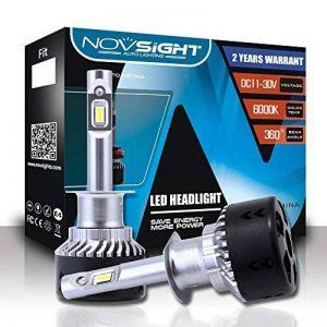 NOVSIGHT 70W 10000LM H1 LED Phare Auto Car Lampe Feux Conversion Ampoule Light 6000K - 2 ans de garantie,Lot de 2 de la marque NIGHTEYE image 0 produit