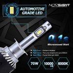 NOVSIGHT 70W 10000LM H1 LED Phare Auto Car Lampe Feux Conversion Ampoule Light 6000K - 2 ans de garantie,Lot de 2 de la marque NIGHTEYE image 2 produit