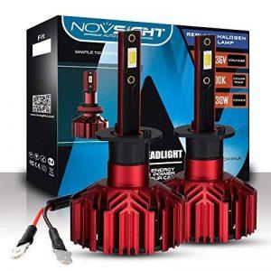 NOVSIGHT H1 LED Ampoules Phare 60W 10000LM Kit de Conversion Ampoules pour Voiture 6000K Blanc IP68 Etanche Garantie 2 Ans de la marque NOVSIGHT image 0 produit