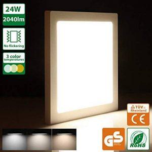 Oeegoo 24W 13MM Ultra-mince Plafonnier LED Carré Lampes de Plafond 2040 Lumens – Remplace 180W Ampoule à Incandescence RA>80 29 * 29*H1.3CM (Couleur de la lumière réglable: 3000K/4000K/6000K) de la marque Oeegoo image 0 produit