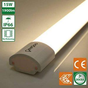 Oeegoo 60CM 15W Plafonniers LED Tube Sans Scintillement Classe de Protection IP66 1900 lm -Alternative à l'ampoule de 150 Watts RA> 80 Blanc Naturel (4000K-4500K) de la marque Oeegoo image 0 produit