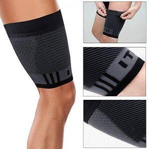 Orthosleeve® QS4 Cuissard de Compression | Noir Taille S | Technologie Exclusive de Compression 4 Zones | Bande ITBS Intégrée | Lésion musculaire, déchirure, traitement des jambes lourdes et soulagement | Sangle légère | Améliore la circulation de la marq image 0 produit