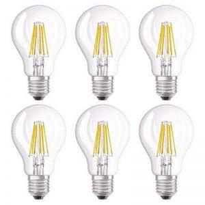 OSRAM Ampoule LED Filament, Forme Classique, Culot E27, 8W Equivalent 75W, 220-240V, claire, Blanc Chaud 2700K, Lot de 6 pièces de la marque Osram image 0 produit