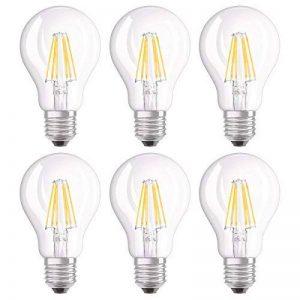 OSRAM Ampoule LED Filament, Forme classique, Culot E27, Dimmable, 7W Equivalent 60W, 220-240V, claire, Blanc Chaud 2700K, Lot de 6 pièces de la marque Osram image 0 produit