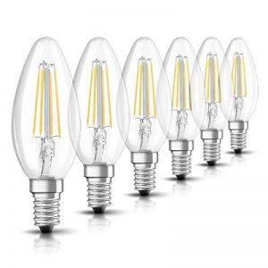 OSRAM Ampoule LED Filament, Forme flamme, Culot E14, 4W Equivalent 40W, 220-240V, claire, Blanc Chaud 2700K, Lot de 6 pièces de la marque Osram image 0 produit