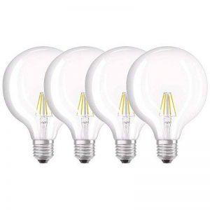 OSRAM Ampoule LED Filament, Globe, Culot E27, 4W Equivalent 40W, 220-240V, claire, Blanc Chaud 2700K, Lot de 4 pièces de la marque Osram image 0 produit