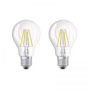 OSRAM LED BASE CLASSIC A / Lampe LED, ampoule de forme classique, avec un style filament, avec un culot à vis: E27, 4 W, 220…240 V, 40 W remplacement, clair, 2700 K, 2pack de la marque Osram image 0 produit