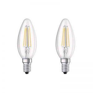 OSRAM LED BASE CLASSIC B / Lampe LED, de forme flamme , avec un style filament, avec un culot à vis: E14, 4 W, 220…240 V, 40 W remplacement, clair, 2700 K, 2pack de la marque Osram image 0 produit