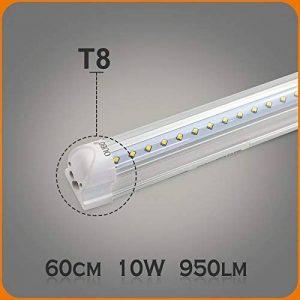 OUBO 10W Néon Tube T8 LED Lampe Intégrée 60cm Lumière Fluorescente Blanc Froid 6500k Transparent abat-jour 950lm pour maison, parkings, bureau, cuisine, halle, entrepôts, garages etc. de la marque OUBO image 0 produit