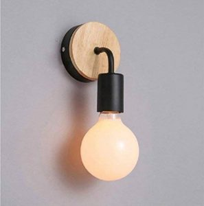 OYGROUP Loft Lampe murale noire Simplicity E27 LED Applique murale en fer et en bois pour salle des enfants Chambre Bar Hôtel (sans ampoule) de la marque OYGROUP image 0 produit