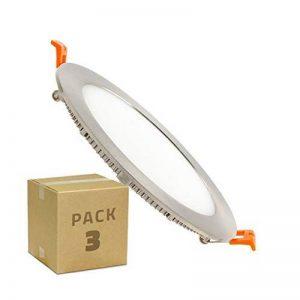 (Pack 3) Dalle LED Ronde Extra Plate LDD Silver 12W de la marque LEDKIA image 0 produit