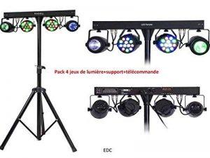 PACK 4 JEUX DE LUMIÈRE LED AVEC SUPPORT/PIED DE LUMIERE AVEC 2 PROJECTEURS LED PAR RGBW + 2 MOON FLOWER A LED RGBWA+TÉLÉCOMMANDE +4M DE CÂBLE D'ALIMENTATION+BARRE TRANVERSALE QUI ALIMENTE LES APPAREILS DMX / SOIRÉES , DJ , ANIMATIONS , BAR, PUB de la marq image 0 produit